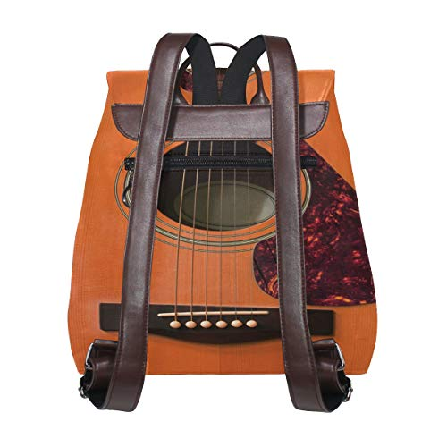 Trä gitarr ryggsäck handväska mode PU-läder ryggsäck ledig ryggsäck för kvinnor