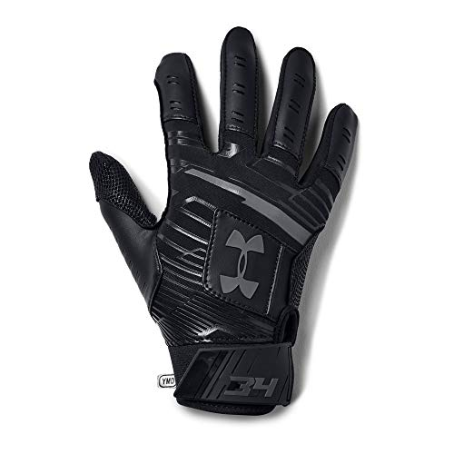 Under Armour Boys' Harper Hustle Baseball Batting Gloves,Black (001)/Graphite,Youth Medium