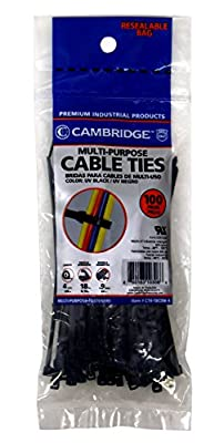 "Cambridge 100 pcs- 4"" 18 Lbs Tensile Strength, Mini/Lightweight Duty Nylon Cable Ties, UV Black"