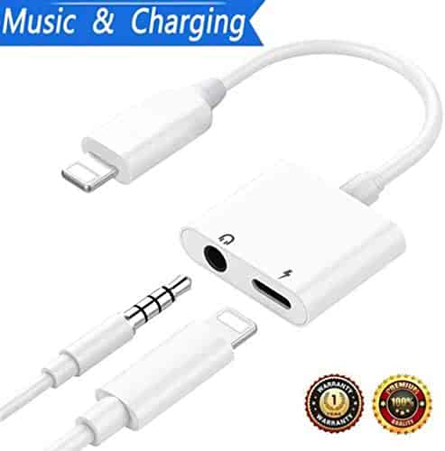 Headphone Adapter Headset Jack AUX Audio 3.5mm Dongle Earphone Convertor Connector 2 in 1 Accessories Cables Music Adaptor Splitter Replacement Phone7/7Plus/8/8Plus/X Support iOS11 Later