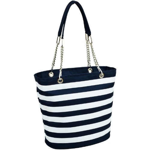 Picnic at Ascot Large Insulated Fashion Cooler Bag - 22 Can Tote - Blue Stripe (Ascot Bag At Picnic)