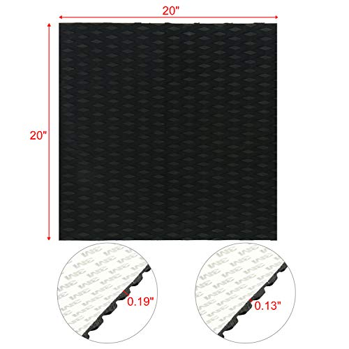 Amarine Made Universal Non-Slip Traction Pad Deck Grip Mat with Trimmable EVA Sheet 3M Adhesive for Boat Decks, Kayaks, Surfboards,Skimboards (20in x 20in,Black)