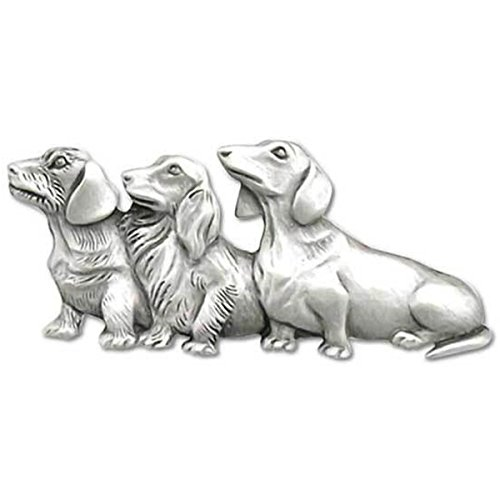 Chelsea Friends Forever Dachshund Dog Trio Pin Pewter Jewelry