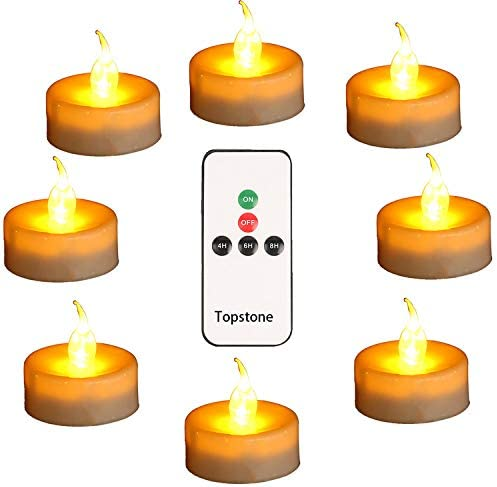 Topstone LED Tea Light,Flameless Flickering Tealight with Remote Control,Long Lasting Battery Operated LED Tealights Candle with Timer,for Seasonal /&Festival Celebration,Pack of 12 White