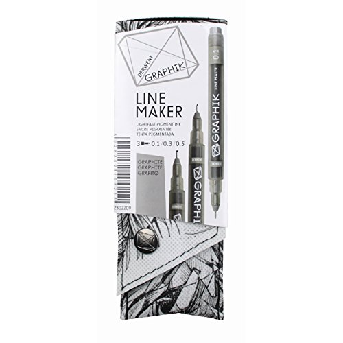 Derwent Graphik Line Maker Drawing Pens, Graphite, 3-PACK (2302209)