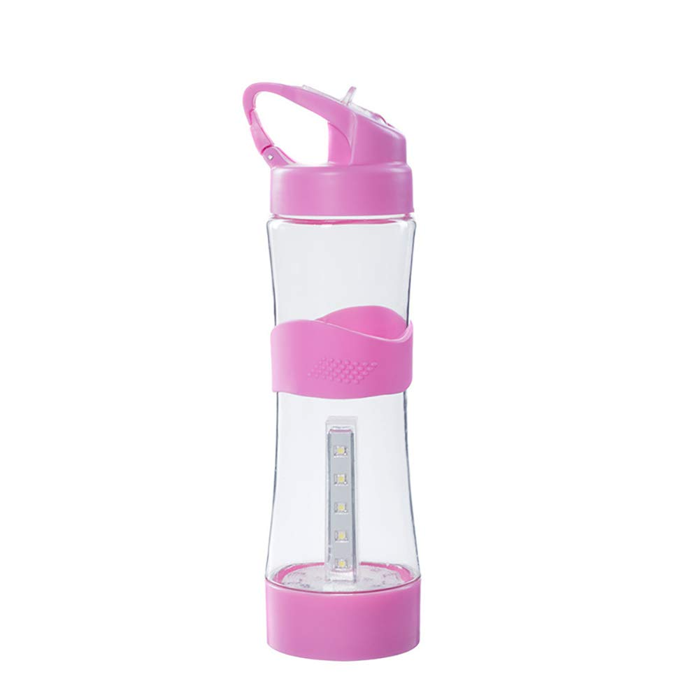UIFIRST 500Ml Portable Camping Water Bottle USB Chargeable Outdoor Sport Intelligent Water Bottles,Pink