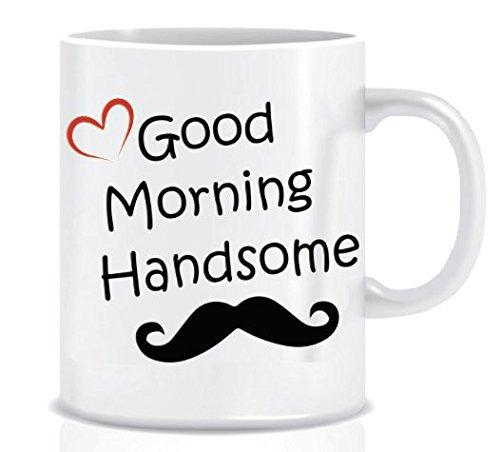 Good Morning Handsome (Heart) - Coffee Mug in Blue Ribbon Gift Box - 11 oz (Coffee Ribbon Mug)