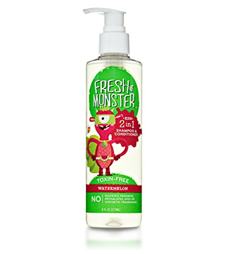 Fresh Monster 2-in-1 Kids Shampoo & Conditioner (Watermelon, 8 oz) - Toxin-Free - Sulfate-Free - Paraben-Free - Natural Botanical Extracts - Hypoallergenic - Cruelty-Free - Natural Kids (Hair Smoothers 2in 1 Shampoo)