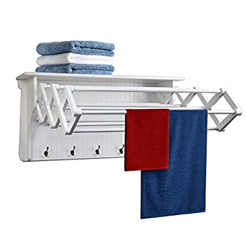 Image of Home and Kitchen Danya B Accordion Clothes Drying Rack, Retractable, Wall Mounted Drying Rack, White - Perfect for The Laundry Room