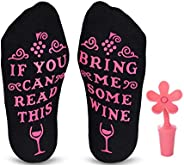 Cavertin Wine Lover Gift Set with Women's Novelty Wine Socks and Wine Sto