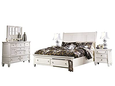 Ashley Prentice 5PC Bedroom Set E King Sleigh Bed Dresser Mirror Two Nightstand in White