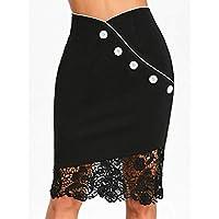 KASSAS Womens Button Lace Pleated Elasticated Waist Summer Short Solid Pencil Mini Skirt