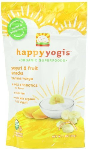 HAPPYMELTS Organic Yogurt Snacks for Babies & Toddlers, Banana Mango, 1-Ounce Pouch (Pack of 8) ( Value Bulk Multi-pack) by HAPPYBABY (Happymelts Organic Yogurt Snacks)