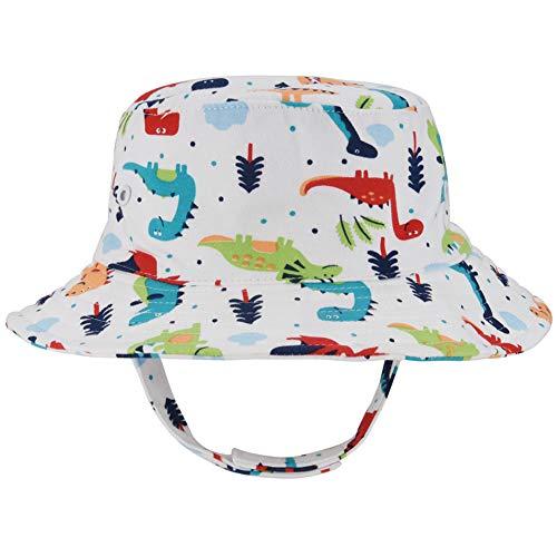 Baby Brim Sun Protection Hat - Unisex Toddler Kids Reversible Beach Bucket Hat(Dinosaur, 52cm) -