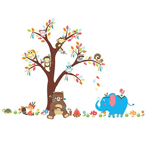 - ElecMotive Forest Animal Elephant Monkey Owls Bear Tortoise Koala Tree Nursery Wall Stickers Wall Murals DIY Posters Vinyl Removable Art Wall Decals for Kids Girls Room Decoration (Bear Under Tree)