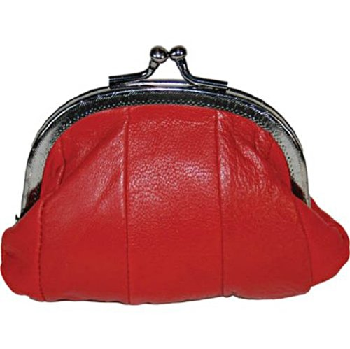 100% Leather Small Change Purse with Clasp RED #92807