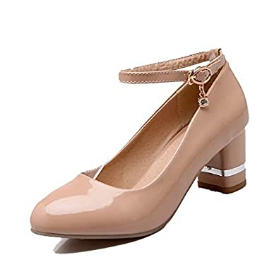 VogueZone009 Women's Buckle Round-Toe Kitten-Heels PU Solid Pumps-Shoes, Apricot, 33