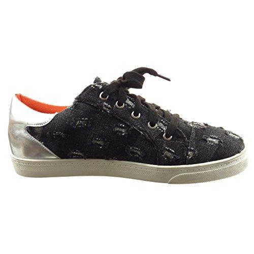 Sopily - Scarpe da Moda Sneaker slip-on alla caviglia donna lucide lines Tacco a blocco 2 CM - Nero