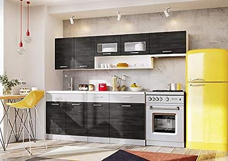 Muebles de Cocina Completa, 240 cms, Color Gris Ceniza y Platino, Modulos cocinas ref-18A: Amazon.es: Hogar