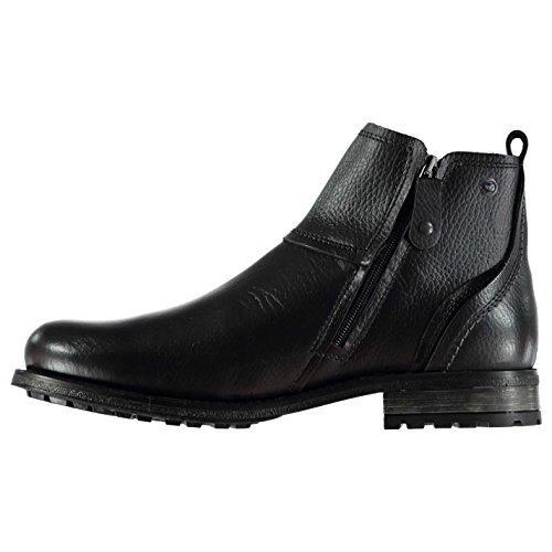 Firetrap Jinx Herren Leder Stiefeletten Elegant Stiefel Boots 2 Reißverschlüße Schwarz