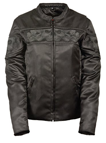 Milwaukee Women's Scooter Jacket with Reflective Skull Embroidery (Black, ()