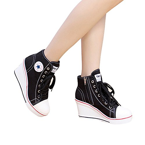 PADGENE Sneakers Toile Tennis Baskets Femme Montante Casuel Compensées Chaussures Mode r8wrqa1I