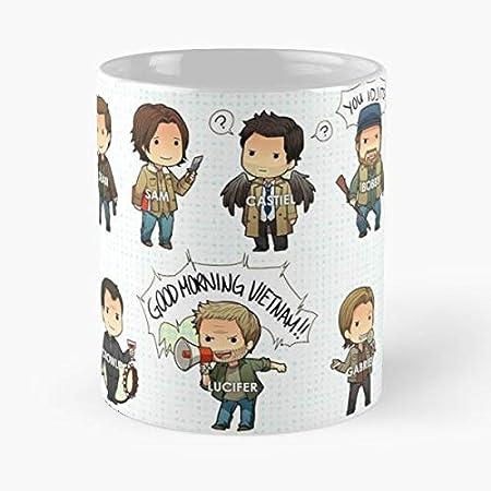 92Wear Supernatural SPN Jared Padalecki Jensen Ackles Sam Winchester Dean Mug Coffee - Best 11 Ounce Cerámica Coffee Mug Gift: Amazon.es: Hogar