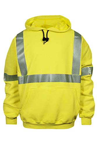 National Safety Apparel Flame Resistant (FR) Hi-Vis Hooded Pullover Sweatshirt, Class 3 (C21HC03C3LG)