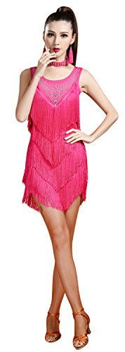Dance Women's Z ZX Dress Fringe Rhinestone Fuchsia Sleeveless Embellished Flapper amp;X Latin zEqqw6