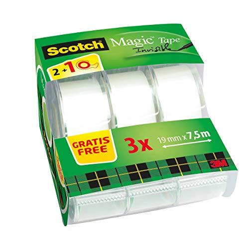 Scotch Magic Tape 8–1975C3 Caddy Pack, 7.5 M x 19 MM Transparent/Green (Scotch Magic)
