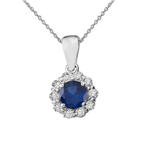 Dainty 14k White Gold Diamond Floral Center Stone Sapphire Pendant ()