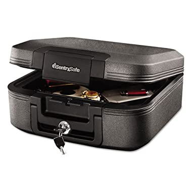 SentrySafe Waterproof Fire-Resistant Chest, 0.28ft3, 15 2/5wx14 3/10dx6 3/5h, Charcoal Gray