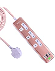 3 Way Extension Socket USB Surge Protected 1.8M Braiding Wire Rose Gold Braided Iphone Charging