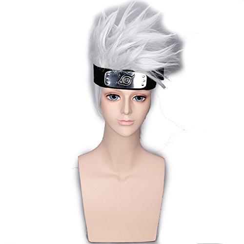 DEYSSNE Men Silver White Short Anime Cosplay Wigs with Headwear Halloween wig Synthetic Wig 35cm 14