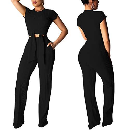 Women's 2 Piece Outfits Short Sleeve Crop Top High Waist Wide Leg Pants Set Sweater Jumpsuits Black - Piece Cotton Outfits 2