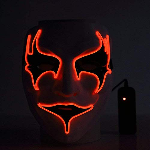 Halloween Hot Sale!!Kacowpper Mask Fashion Led Party Halloween Neon Luminous Wire Glowing Ghost Skull Light -