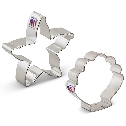 Beach Cookie Cutter Set - 2 Pieces - Starfish and Seashell – Ann Clark – US Tin Plated Steel (Starfish Cutter Cookie)