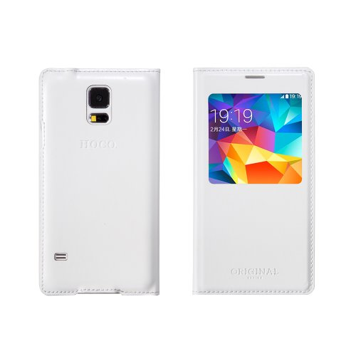 Moon Monkey Ultra-thin Slim Well-selected Imported Leather Cover Case for Samsung Galaxy S5 with Intelligent Window (White)
