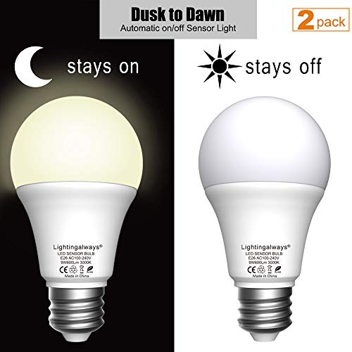 (Dusk to Dawn LED Light Bulbs, Light Sensor LED Security Bulbs for Porch, Driveway, Garage, Hallway Lights, Works with Glass Lamp Cover, 9W 600lm Warm White 3000K 2 Packs)