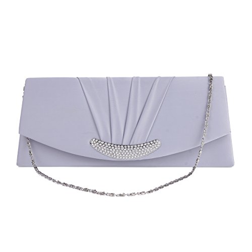 Damara Silver Damara Bag Pleated Womens Evening Crescent Rhinestones Royal Womens Fqannpdz