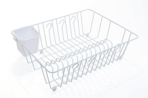 - PRO-MART DAZZ Dish Drainer with Cutlery Cup, Large, White