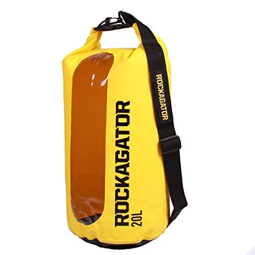 Transparent Dry Bag by Rockagator | Waterproof Roll Top Shoulder Sling Pack | Runabout Series – Water Proof Rucksack Day Pack Bag for Beach, Kayak, Fishing and Camping (Yellow, 20 Liter)