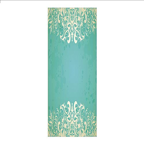 (3D Decorative Film Privacy Window Film No Glue,Vintage,Old Fashioned Frame with Grungy Ancient Floral Curlicues Baroque Revival Motifs Decorative,Seafoam Cream,for Home&Office)