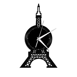 VinylShopUS - Eiffel Tower Vinyl Wall Clock Cityscape Souvenir Unique Gift Home and Office | Room Decoration