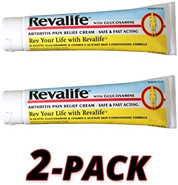 Revalife Pain Relief Cream with Patented Glucosamine Delivery System, Fast & Reliable for Arthritis Pain Relief, Osteoarthritis, Joint Pain 2 Pack = 6 Oz.