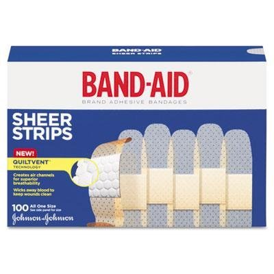 BAND-AID Sheer Adhesive Bandages, 3/4'' X 3'', 100/Box, Case of 2 Boxes