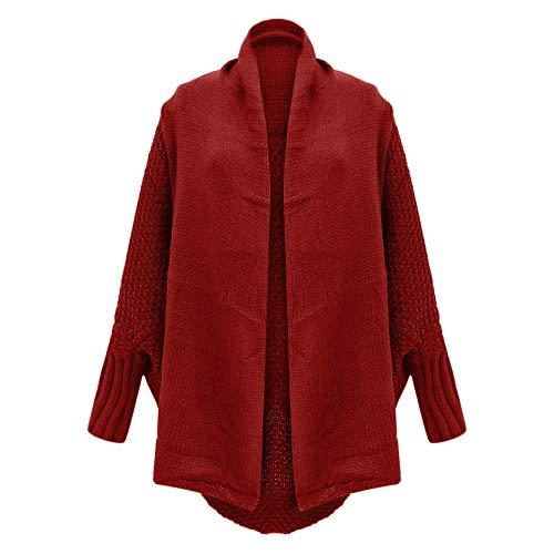 Largos Sueltas Invierno Manga del Rojo Mujeres Punto Larga Fuera suéter de otoño SHOBDW del Abrigos suéter Hombro Ocasional de Tops xzwPBnTq
