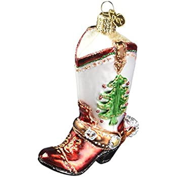 Old World Christmas Cowboy Boot Glass Blown Ornament