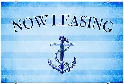 CGSignLab Nautical Stripes Premium Brushed Aluminum Sign Now Leasing 36x24