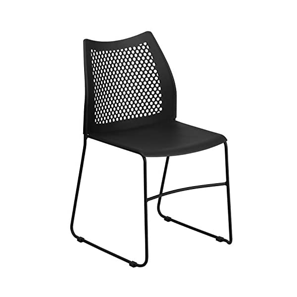 Flash Furniture 5 Pk. HERCULES Series 661 lb. Capacity Black Sled Base Stack Chair with Air-Vent Back -, 5-RUT-498A-BLACK-GG
